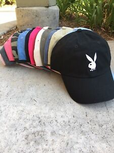 47f5f6feb15 Image is loading Playboy-Bunny-Custom-Unstructured-EMBROIDERED-Dad-Hat -Adjustable-