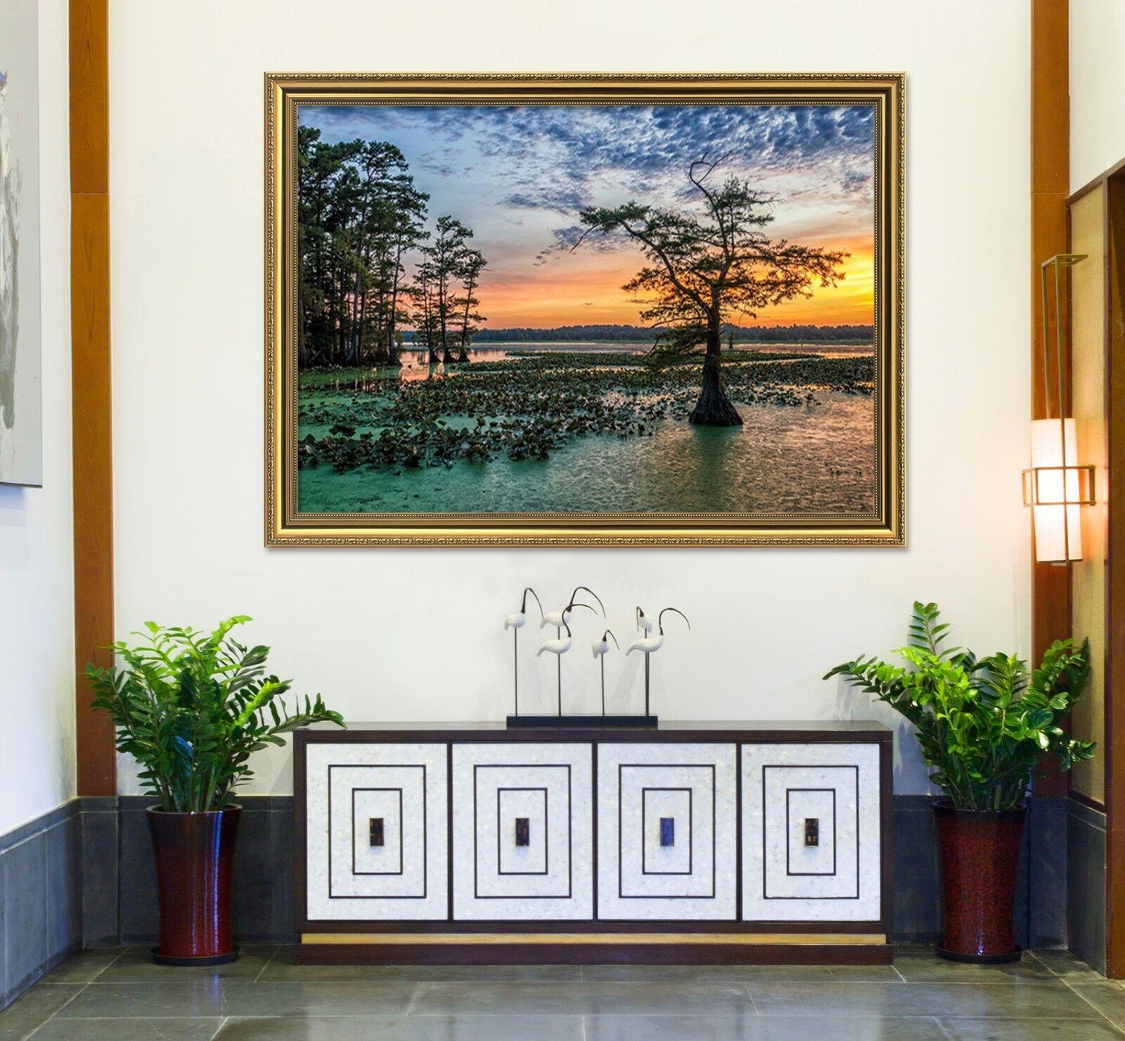 3d Sunset River ALBERO 53 incorniciato Poster a casa Decorativa Stampa Pittura Arte AJ