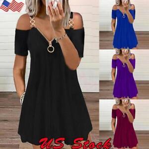 Womens Cold Shoulder Tunic Dress A Line Short Sleeve Loose Sundress Plus Size US