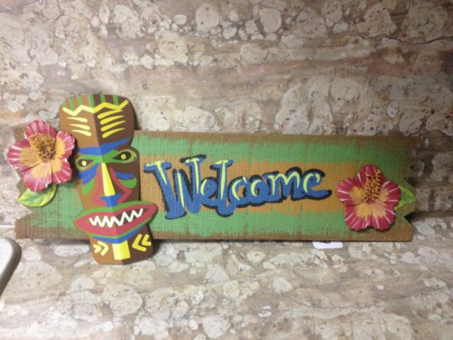 NEW Wood Welcome Sign w/ Metal Tiki Statue and Hibiscus Flowers - Rope Hanger