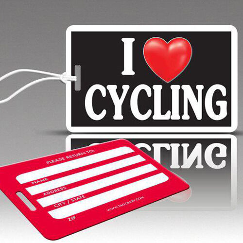 I Heart Cycling Durable Plastic Loops TagCrazy Fun Luggage Tags 1 Pack