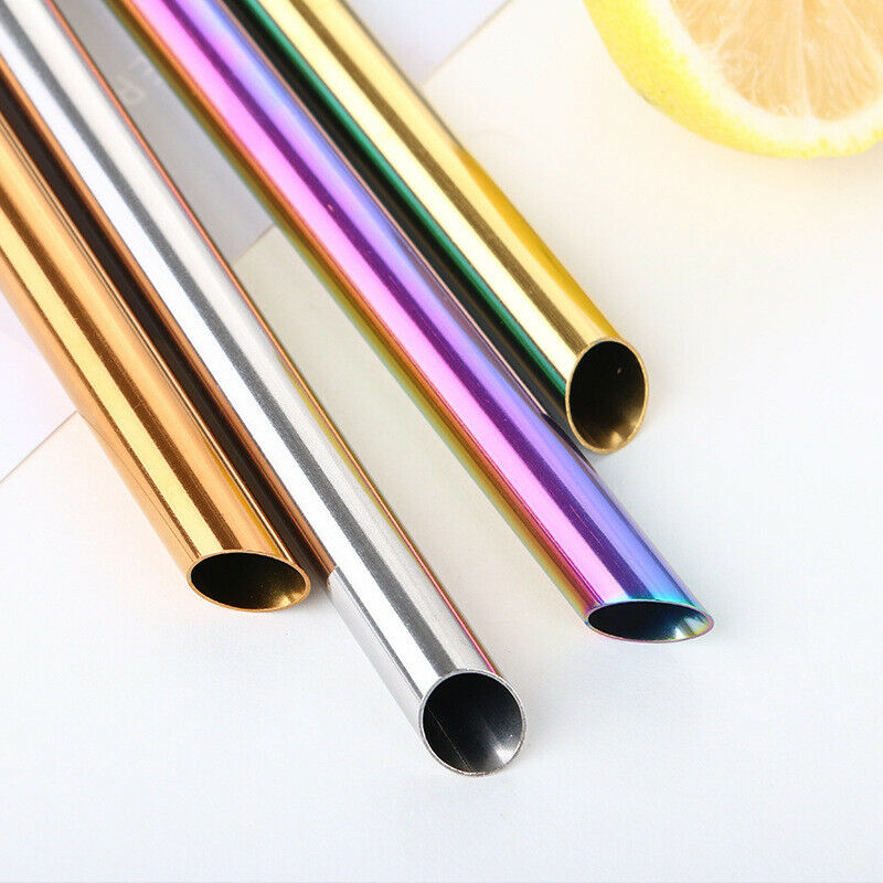 3Pcs Stainless Steel Boba Bubble Tea Drink Straw Wide 12mm Reusable Pointed End