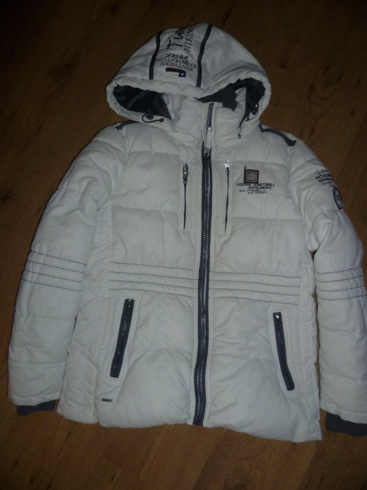 Schöne Damen Winterjacke Jacke mit Kapuze Parka Gr. M 38 SOCCX cremeweiß TOP