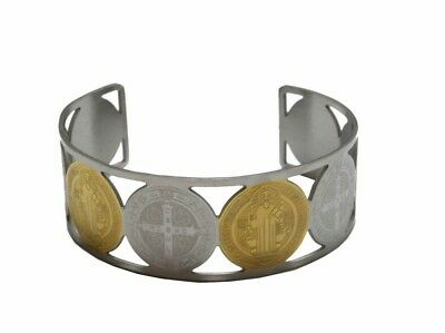 Stainless Steel Gold Plated Saint Benedict San Benito Cuff Bangle Bracelet