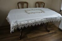 Pretty Ecru Embroidered Tablecloth 130cm  180cm Christmas Party