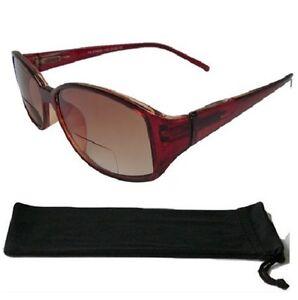 Bifocal-Tinted-Sunglasses-Brown-Frame-Spring-Hinges-UV-Protected-Sun-Readers