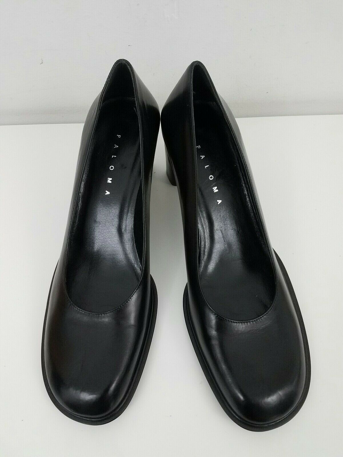 New Paloma  Women shoes Size 8.5 Navy Classic Pumps Block Heels Round Toe