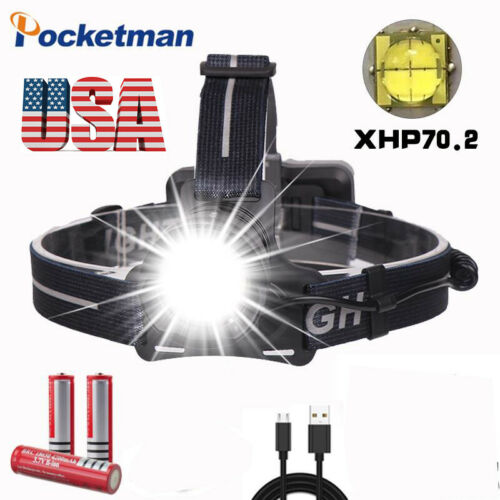 200000lm xhp70.2  Super Bright Led Headlamp usb Rechargeable Head Torch 3*18650