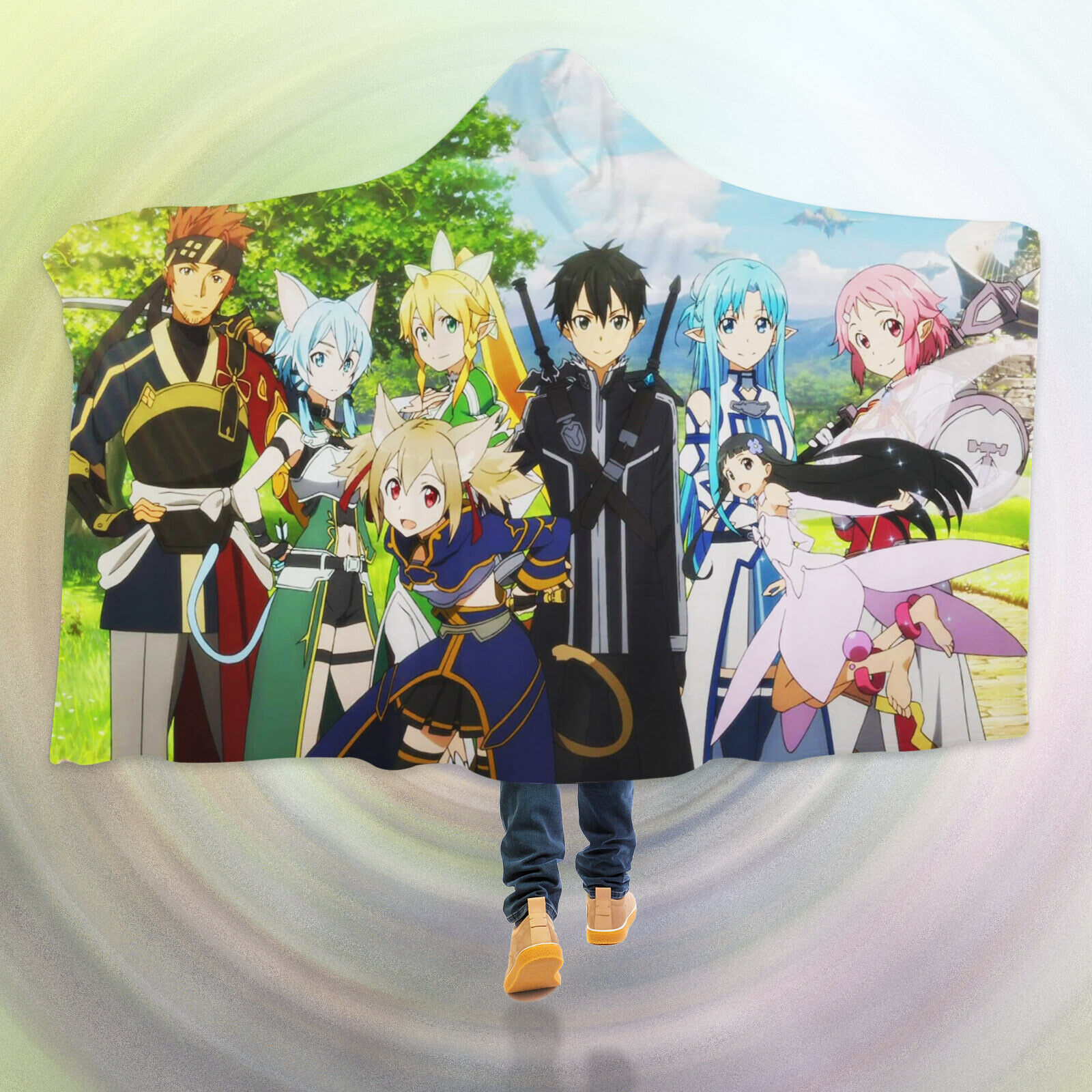 3D Kirito Asuna O175 Hooded Blanket Cloak Japan Anime Japanese Cosplay Game Am