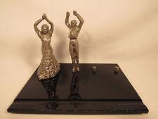 Art Deco Spanish Flamenco Dancers Metal Figurines Onyx Base Desk Display