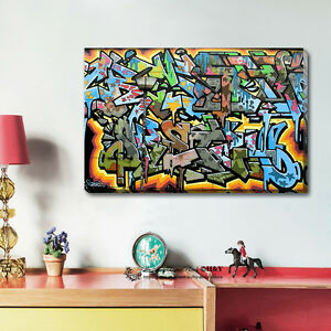 Graffiti Abstract Stretched Canvas Print Framed Wall Art Home Office Decor Gift Ebay