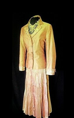 French Designer Pink Beige Size 14 16 Ladies Skirt Top & Jacket Wedding Outfit