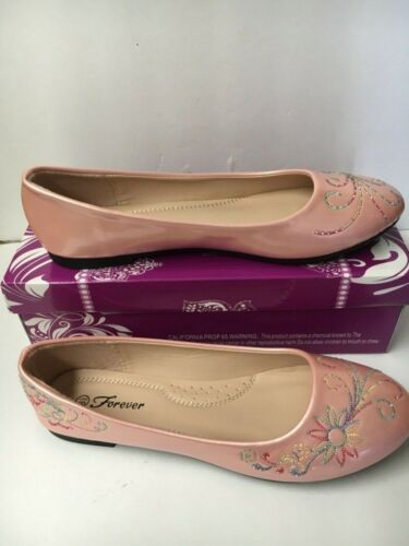 New Women's Embroidered Flowers Pink Flat Shoes 7-10