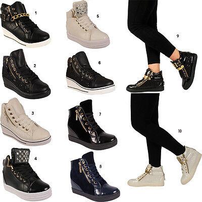 Señoras Cuña Tacón Para Mujer Alto Plataforma superior Botines Zapatillas Talla 3 4 5 6 7 8