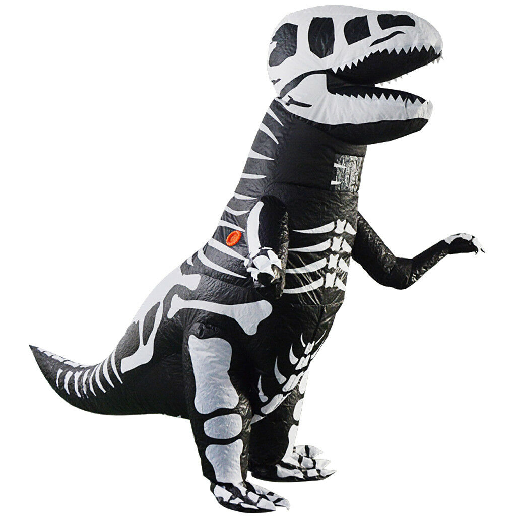 Kids Inflatable Dinosaur Costume Skeleton T-Rex Jurassic Halloween Outfit