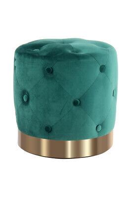 Pouf Sitzhocker Sitzpouf Rund Gesteppt Samt Gold Dekoration Ø 40 cm Grün | eBay
