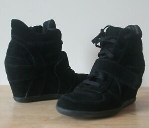 Boots-Ash-Bowie-Black-Suede-UK-6-EU-39-High-Wedge-Sneakers-Trainers-Flawless