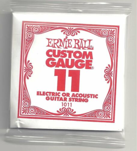 6 Pack Ernie Ball 11 Custom Gauge Guitar Single Strings Electric or Acoustic