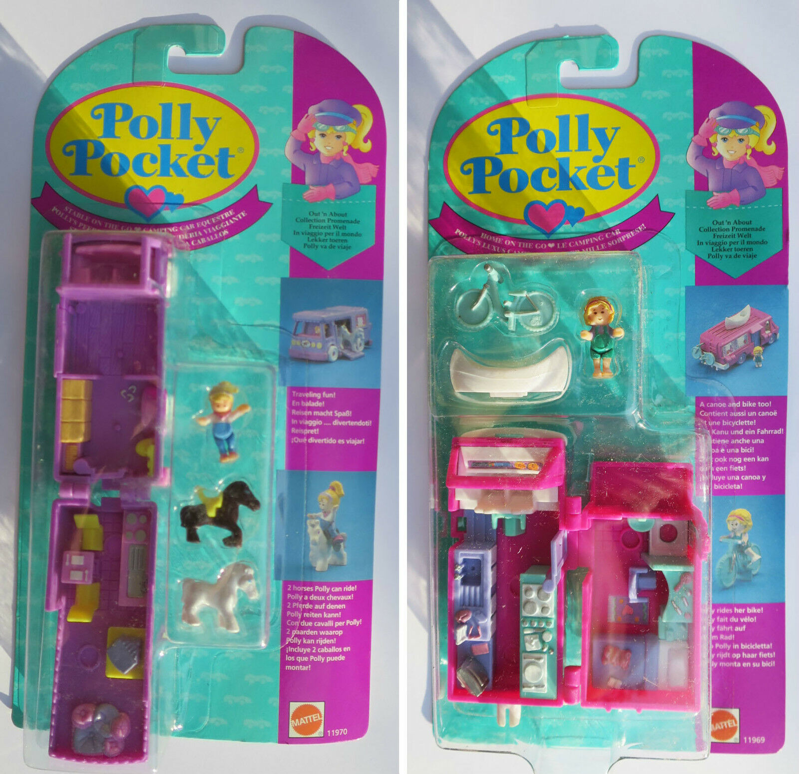 Nuevo Mini Polly Pocket 1994 Home on the go & stable Go casa rodante azulbird
