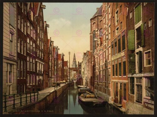 PHOTO VINTAGE CITYSCAPE AMSTERDAM DPC OLD ZYDS CANAL LARGE PRINT POSTER LF1707
