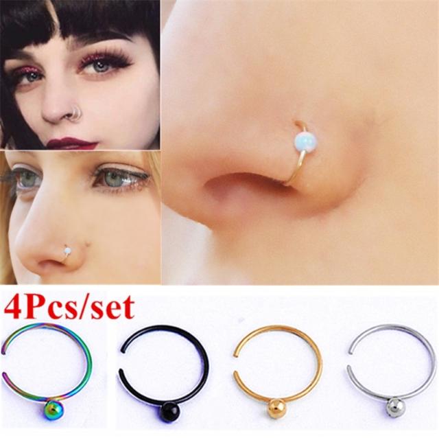 4 Pcs Set Fake Septum Piercing Nose Ring Hoop Women Faux Clip Non Body Jewelry