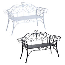 Garden Metal Bench 2 Seater Rustic Vintage Outdoor Chair Patio Park Loveseat