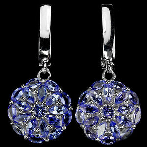 Sterling-Silver-925-Genuine-Natural-Blue-Violet-Tanzanite-Round-Dangle-Earrings