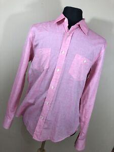 Hugo-Boss-L-Large-Slim-Fit-Shirt-Button-Down-Front-Cotton-Long-Sleeve-Pocket-P1