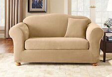 Sure Fit Stretch Pique Separate Seat Sofa Slipcover Cream Box cushion SALE
