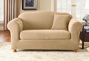 Sure Fit Stretch Pique Separate Seat Sofa Slipcover Cream