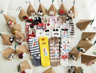 Cute Warm Winter Christmas Snowflake Animal Monkey  Design Plush Socks Xmas LOT