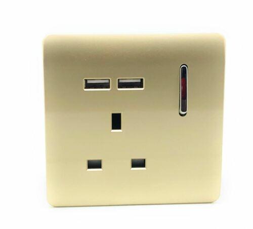 Trendi 1 Gang 13 Amp 2 x 2.1 mA USB Commutés Plug Socket Gold ART-SKT 13 usbgo