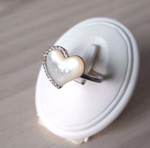 Elements Silver para Mujer 925 STERLING SILVER ANILLO Madre de Perla Corazón Blanco