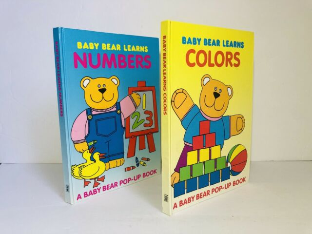 Baby Bear Learns Colors / Numbers Pop Up Book Lot, Vintage 1st Ed., 1988 RARE