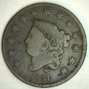 1831-Coronet-Large-Cent-US-Copper-Type-Coin-Very-Fine-Newcomb-N8-VFG-K12