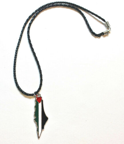 Flag Colors W//Cities Names on the Back on Black Necklace Palestine Map