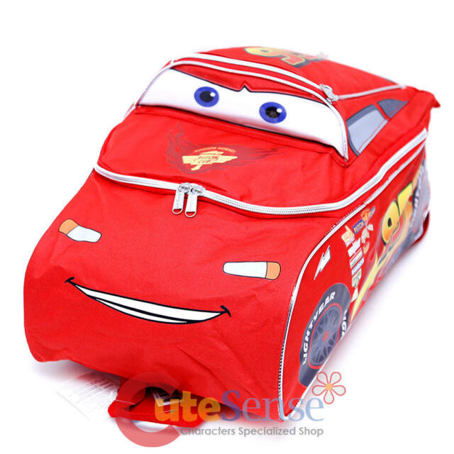"Disney Cars Mcqueen Large School Backpack 3D Shape 16"" Boys Book Bag"