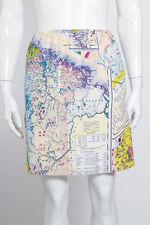 CARVENBeige Blue Yellow Pink Multi Color Graphic Map Print Silk Mini Skirt 4/36