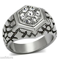 Mens Seven Top Crystal Stones Silver Stainless Steel Ring