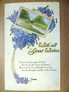 WW1-Period-Vintage-Greetings-Postcard-With-all-good-Wishes-no-2550
