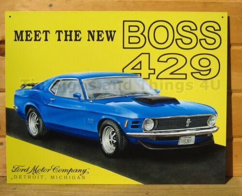 Mustang Boss 429 TIN SIGN Ford blue garage muscle car vtg metal wall decor 703