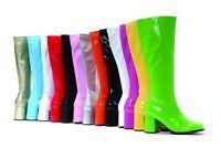 Ellie Shoes Retro Gogo Low Block Heel Patent Or Matt Knee Boots Fancy Dress