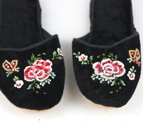 Handmade Embroidered Floral Chinese Women/'s Velvet Slippers Blue Red Black New