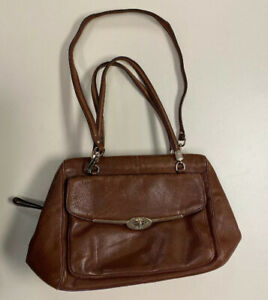 COACH-D1393-East-West-Madison-Madeline-Satchel-Brown-Leather-Shoulder-Bag