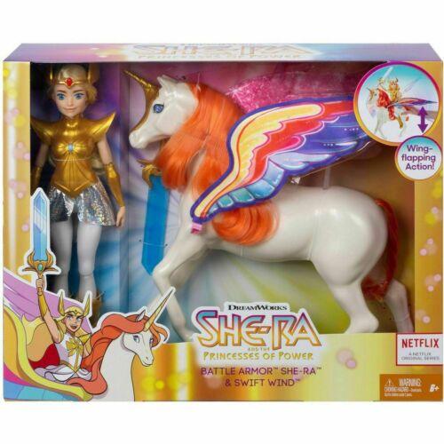 SHE-RA Princess of Power Battle Armor SheRa Doll /& Swift Wind Horse BRAND NEW