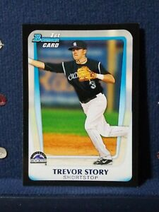 TREVOR STORY RC 2011 Bowman Draft 1st Prospects BLACK Border SP! #BDPP84 Rockies