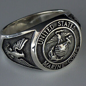 UNITED-STATES-ARMY-MARINE-CORPS-USMC-SILBER-STERLING-925-RING