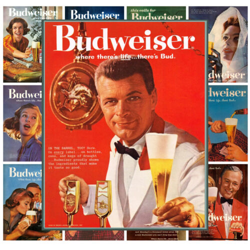 """Budweiser Beer Ads Vintage Adverts MP481 Mini Posters 13 posters 8/""""x11/""""//A4"""