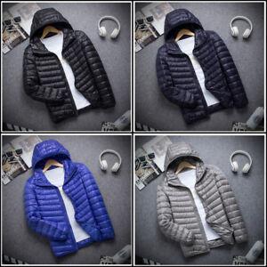 Men-039-s-Hoodie-Packable-Ultralight-Down-Jacket-Winter-Hooded-Puffer-Outerwear-Coat