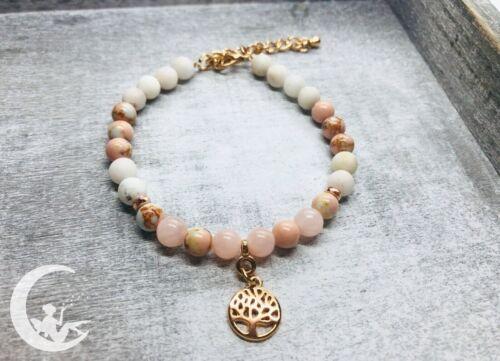 Edelstein Armband *Rosenquarz* Naturstein Lebensbaum rosegold Schmuck